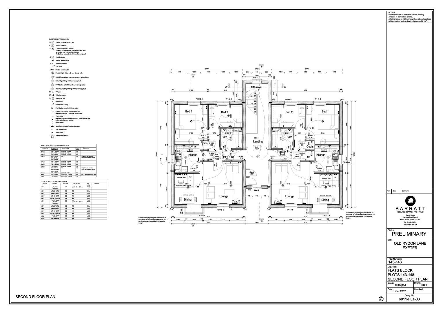 Old Rydon Lane_Plots 143-148 Flats_Second Floor Pl